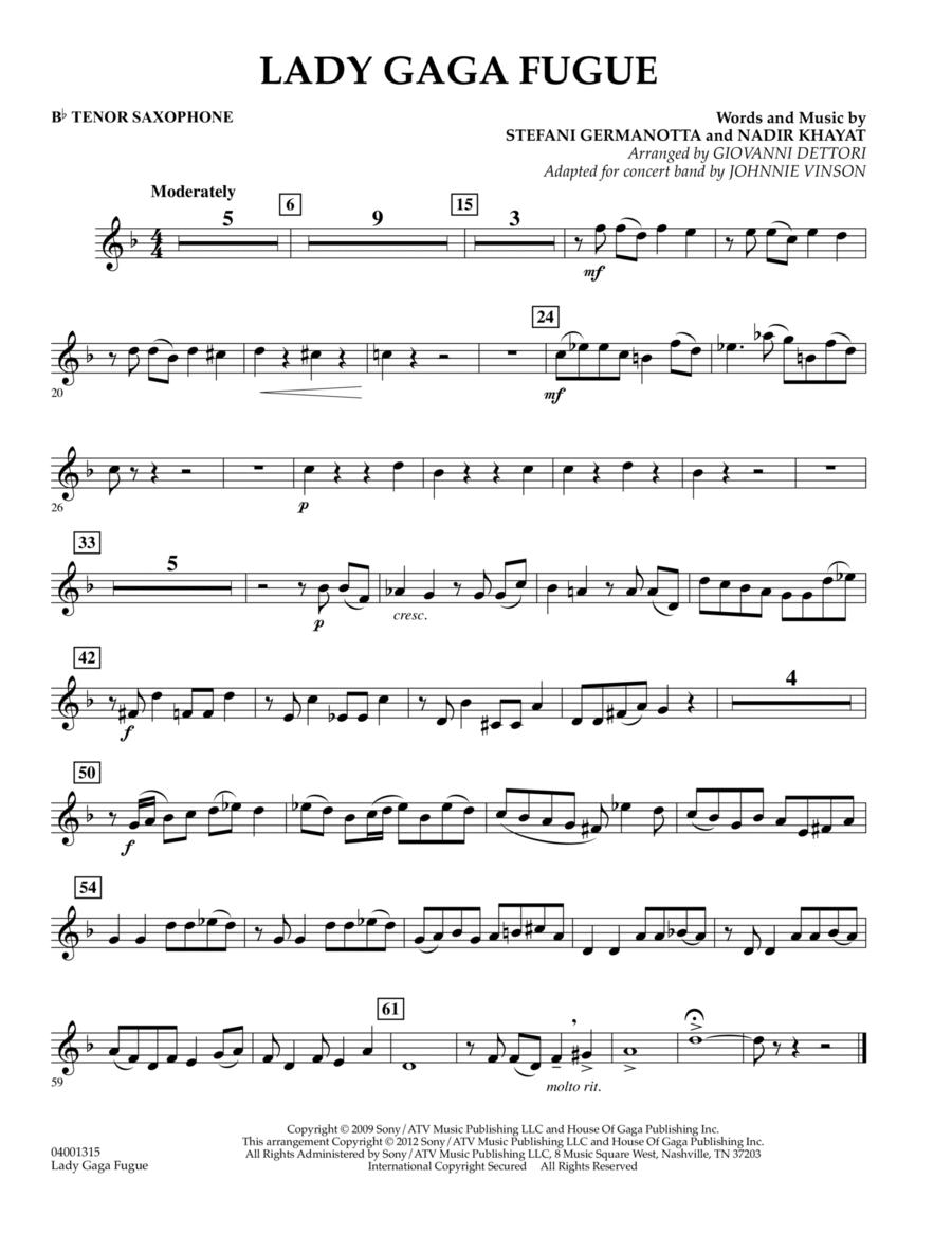 Lady Gaga Fugue - Bb Tenor Saxophone