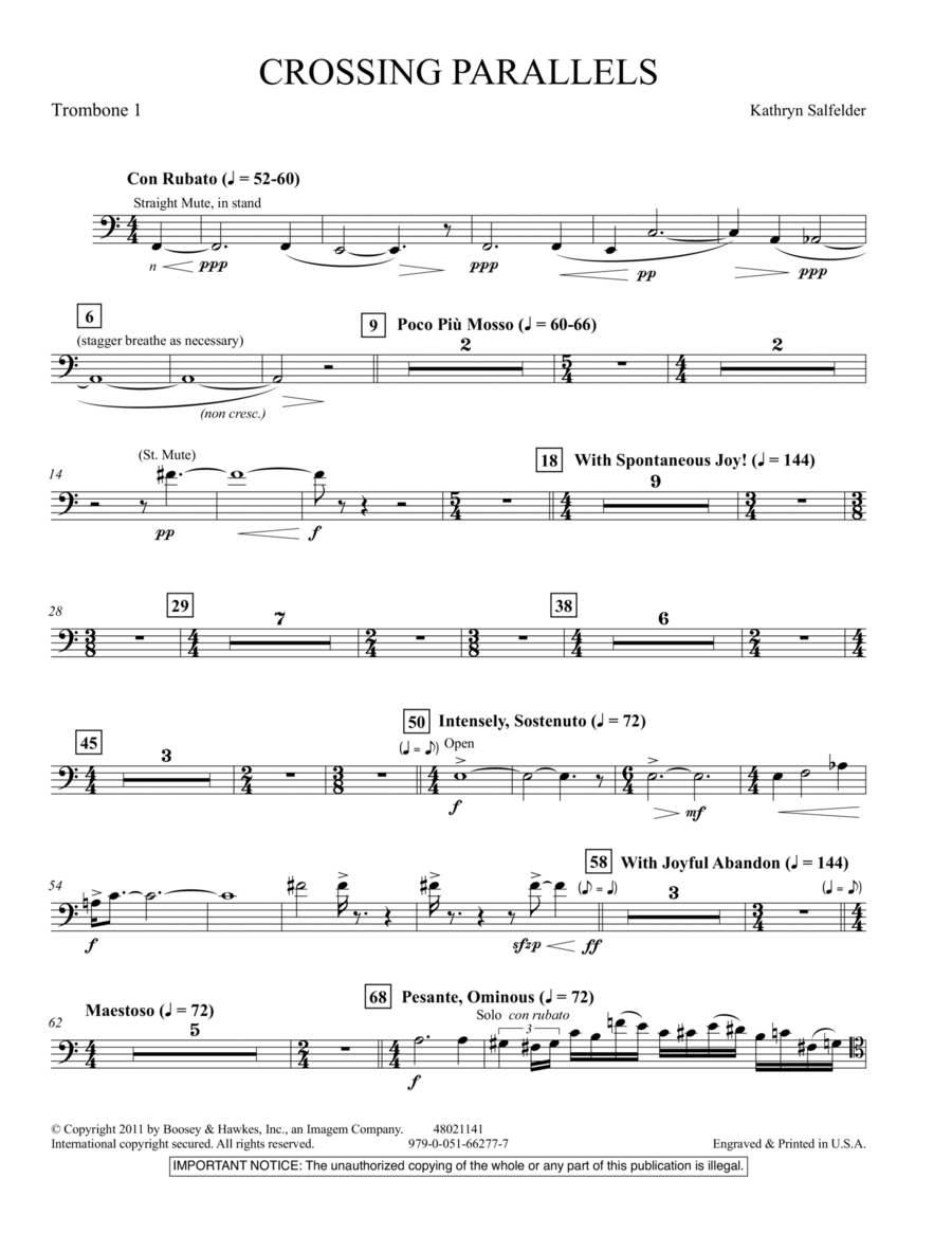 Crossing Parallels - Trombone 1