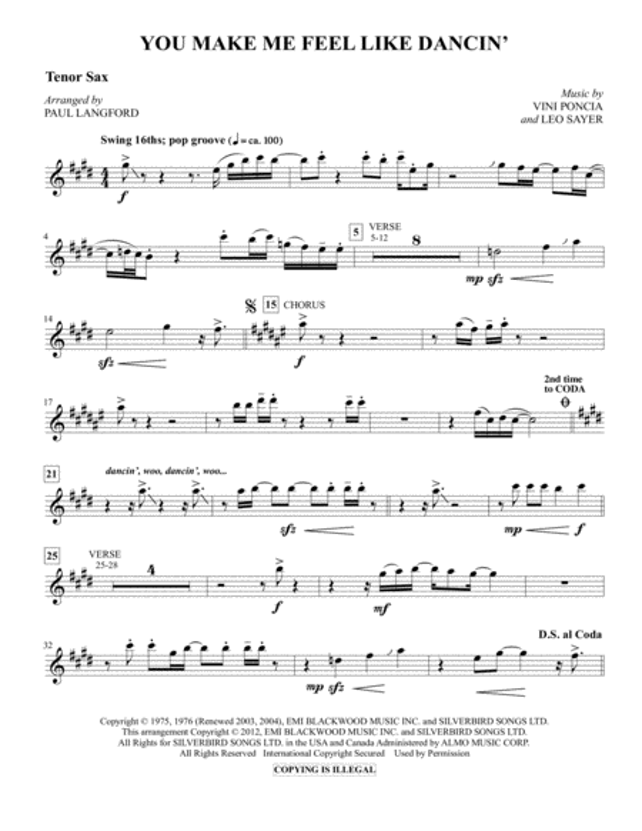 You Make Me Feel Like Dancing - Tenor Sax