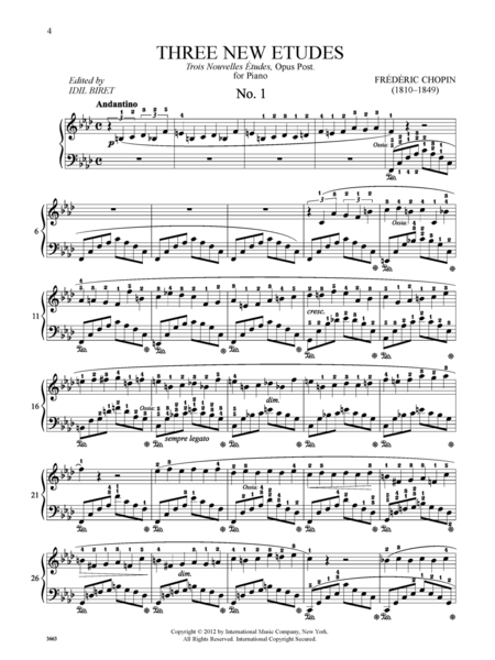 Three New Etudes, Opus Post.