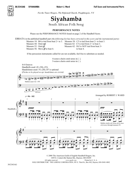 Siyahamba - Full Score and Parts
