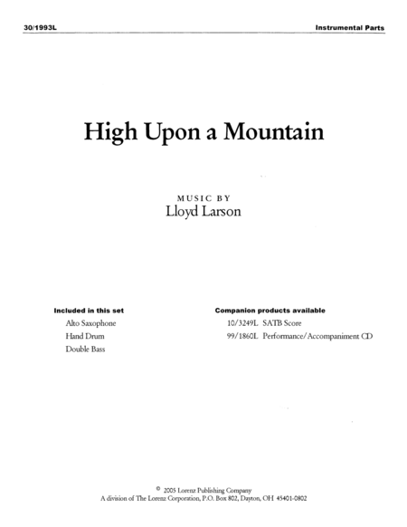 High Upon a Mountain - Instrumental Parts