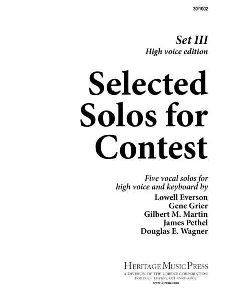 Selected Solos for Contest, Set III - High Voice