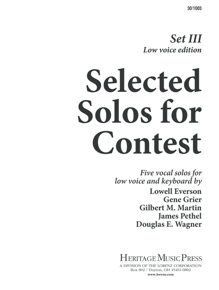 Selected Solos for Contest, Set III - Low Voice