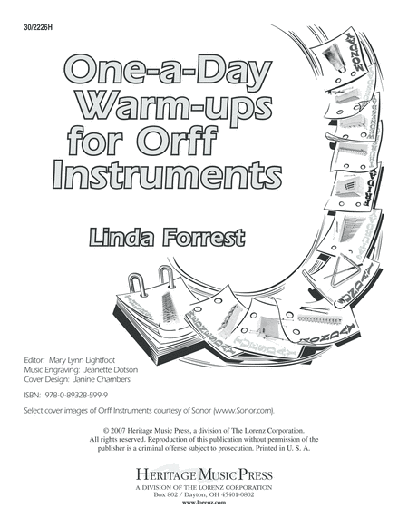 One-A-Day Warm-Ups for Orff Instruments