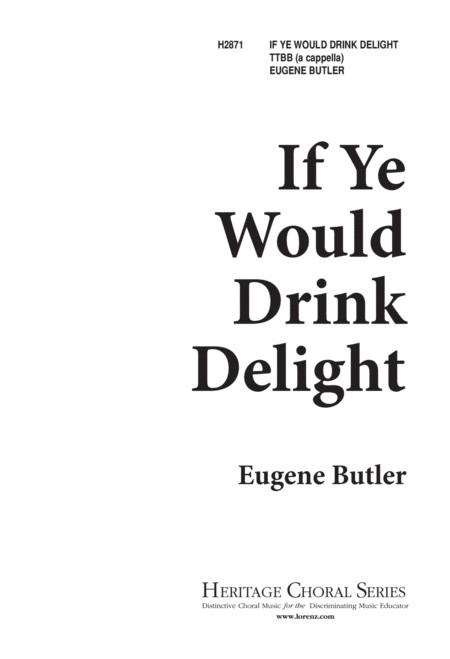 If Ye Would Drink Delight