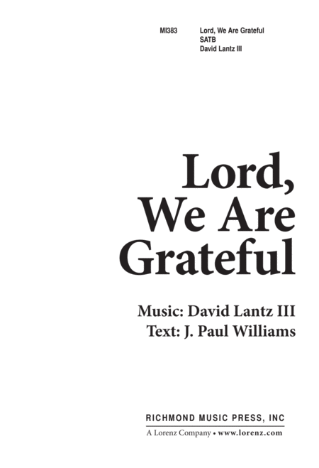 Lord We Are Grateful