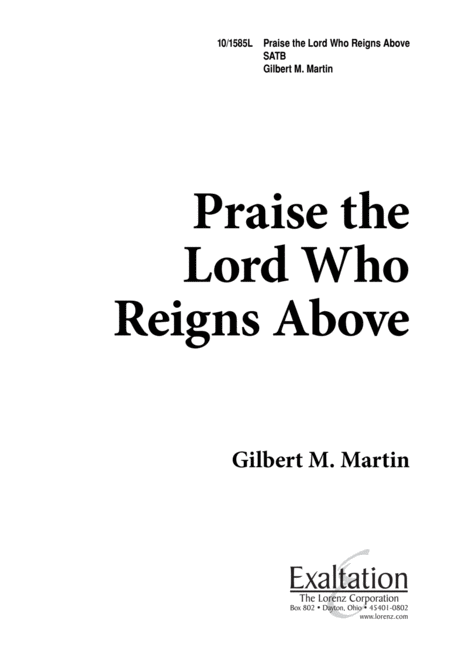 Praise the Lord, Who Reigns Above