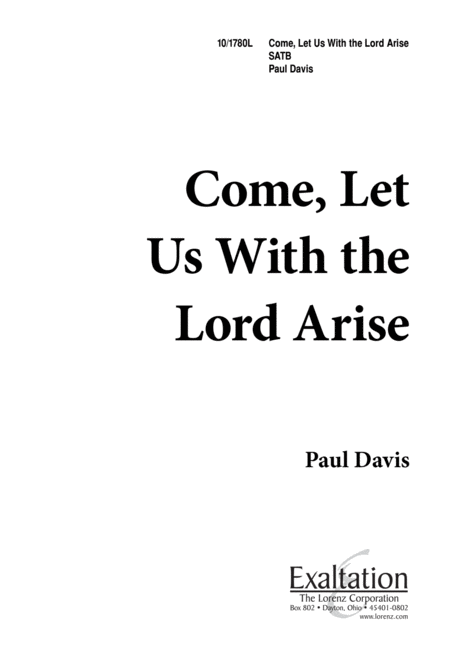 Come, Let Us With the Lord Arise