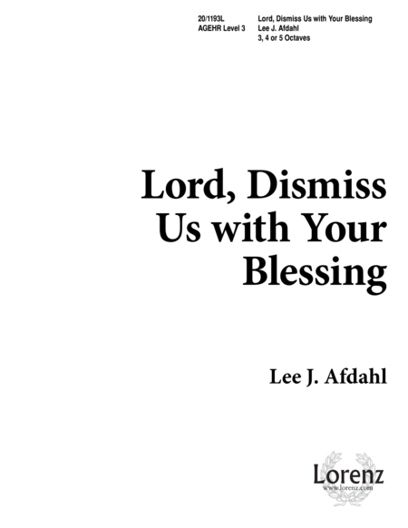 Lord, Dismiss Us with Your Blessing
