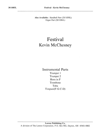 Festival - Instrumental Parts for Brass and Timpani
