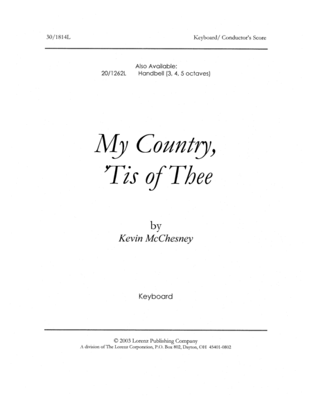 My Country 'Tis of Thee - Keyboard/Director's Edition
