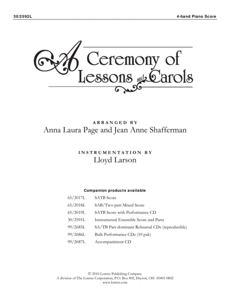 A Ceremony of Lessons and Carols - 4-hand Piano Part