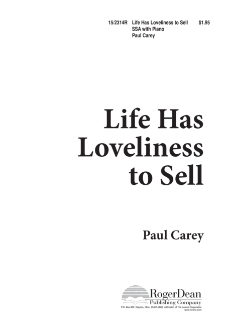Life Has Loveliness to Sell