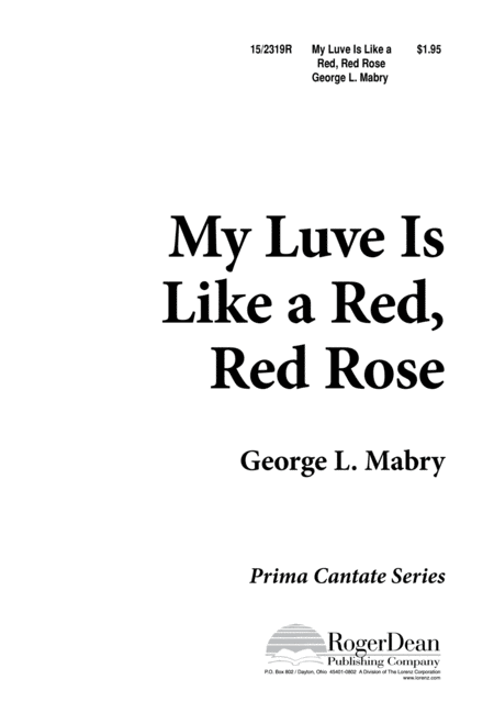 My Luve Is Like a Red, Red Rose