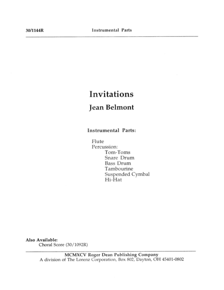 Invitations - Instrumental Parts