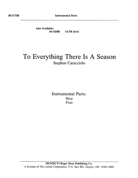 To Everything There Is A Season Harp/Flute Part
