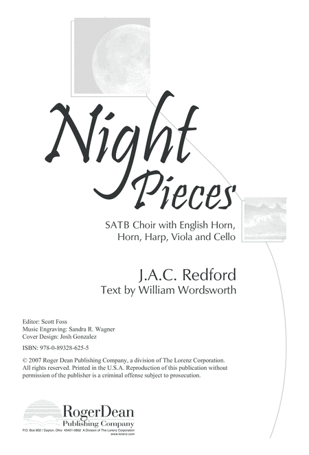 Night Pieces - SATB Choral/Full Score