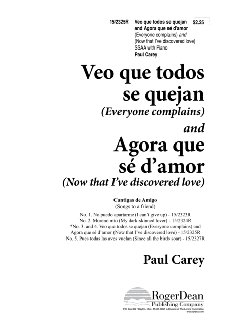 Veo que todos/Agora que se d'amor (Everyone complains/Now I've discovered love)