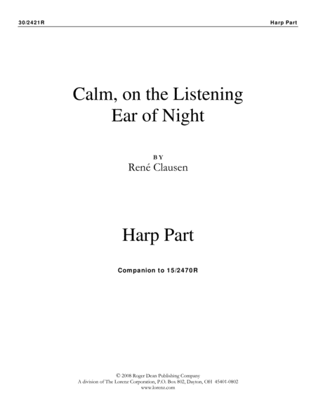 Calm, On the Listening Ear of Night - Harp Part