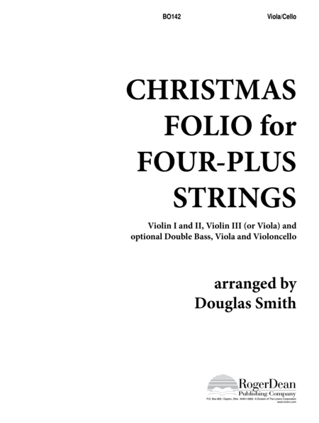Christmas Folio for Four-Plus Strings - Viola/Cello