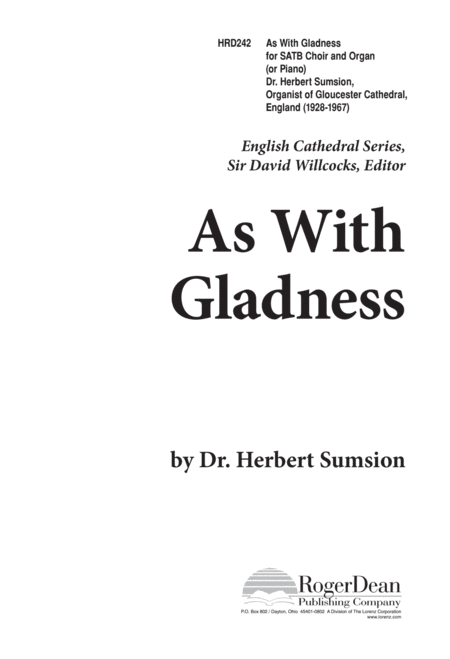 As With Gladness