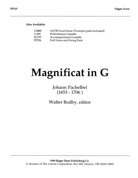 Magnificat in G - Organ Score