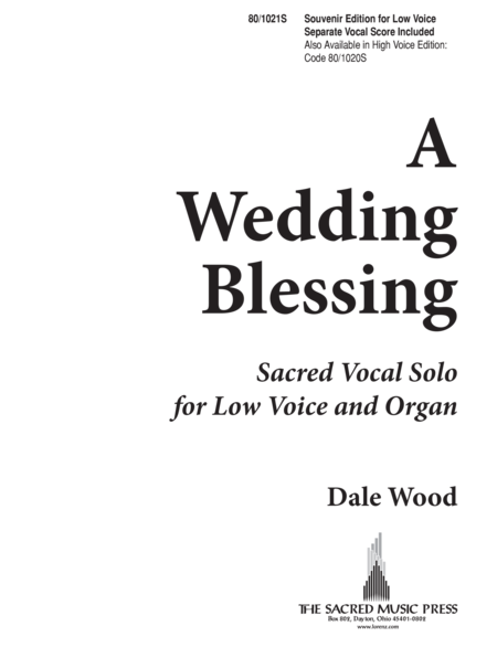 A Wedding Blessing - Low Voice