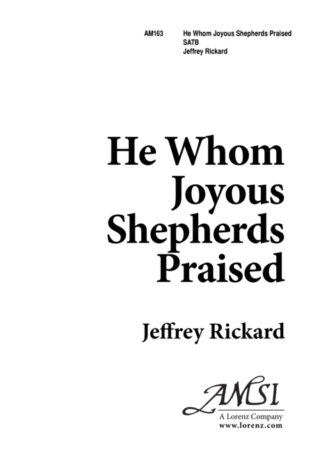 He, Whom Joyous Shepherds Praised