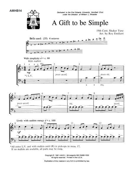 A Gift To Be Simple