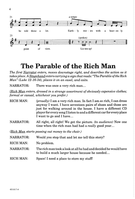 The Rich Man, the Builder, and the Feast - Singer's Ed