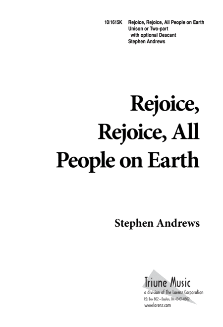 Rejoice, Rejoice, All People on Earth