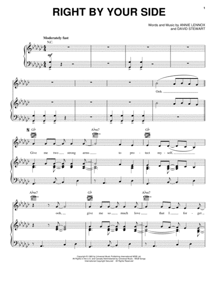 Download Right By Your Side Sheet Music By The Eurythmics Sheet
