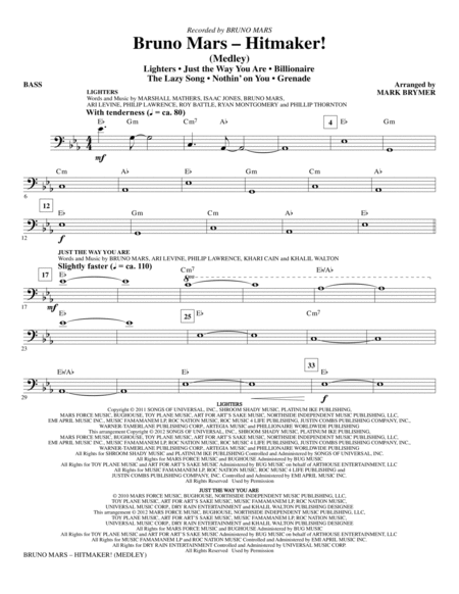 Bruno Mars: Hitmaker! (Medley) - Bass