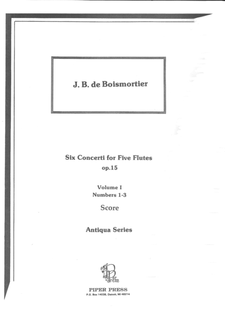 Six Concerti for Five Flutes (Score)