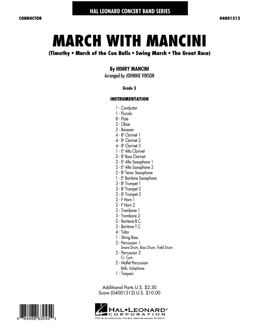 March With Mancini - Conductor Score (Full Score)