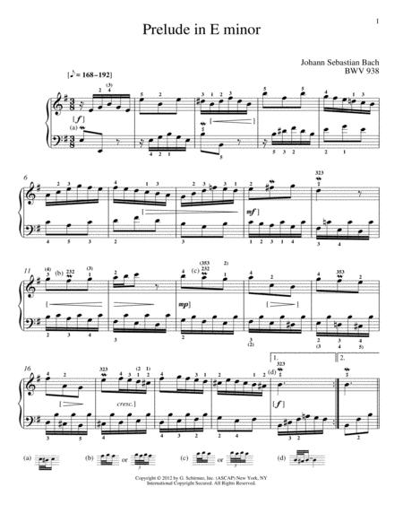 Prelude In E Minor, BMV 938