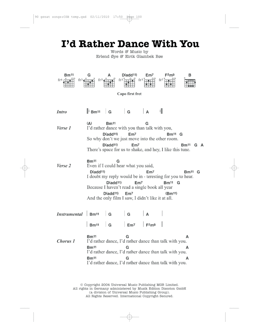 I'd Rather Dance With You