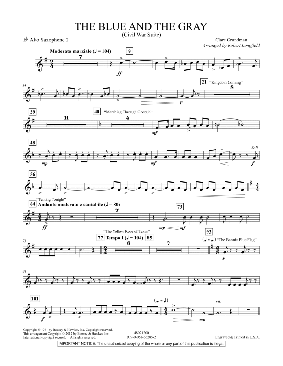 The Blue And The Gray (Young Band Edition) - Eb Alto Saxophone 2