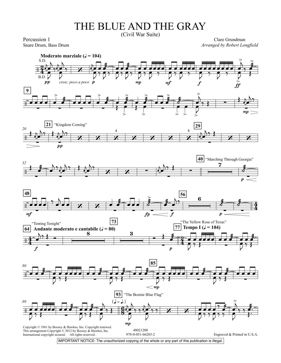 The Blue And The Gray (Young Band Edition) - Percussion 1