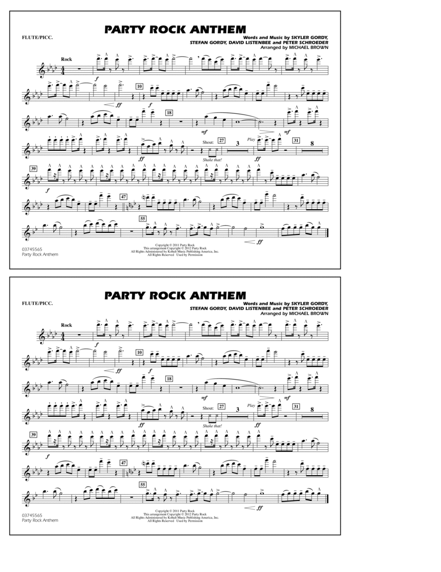 Party Rock Anthem - Flute/Piccolo