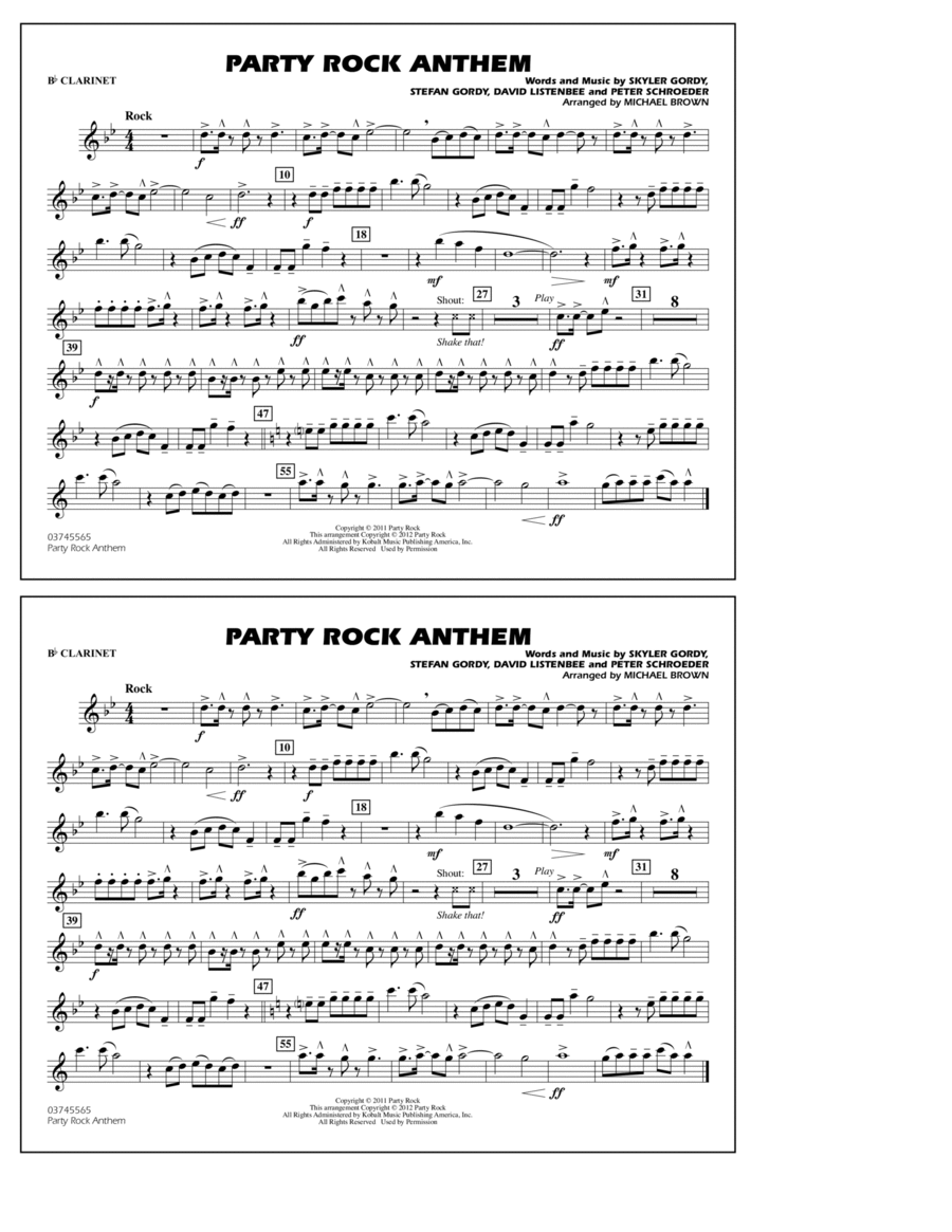 Party Rock Anthem - Bb Clarinet