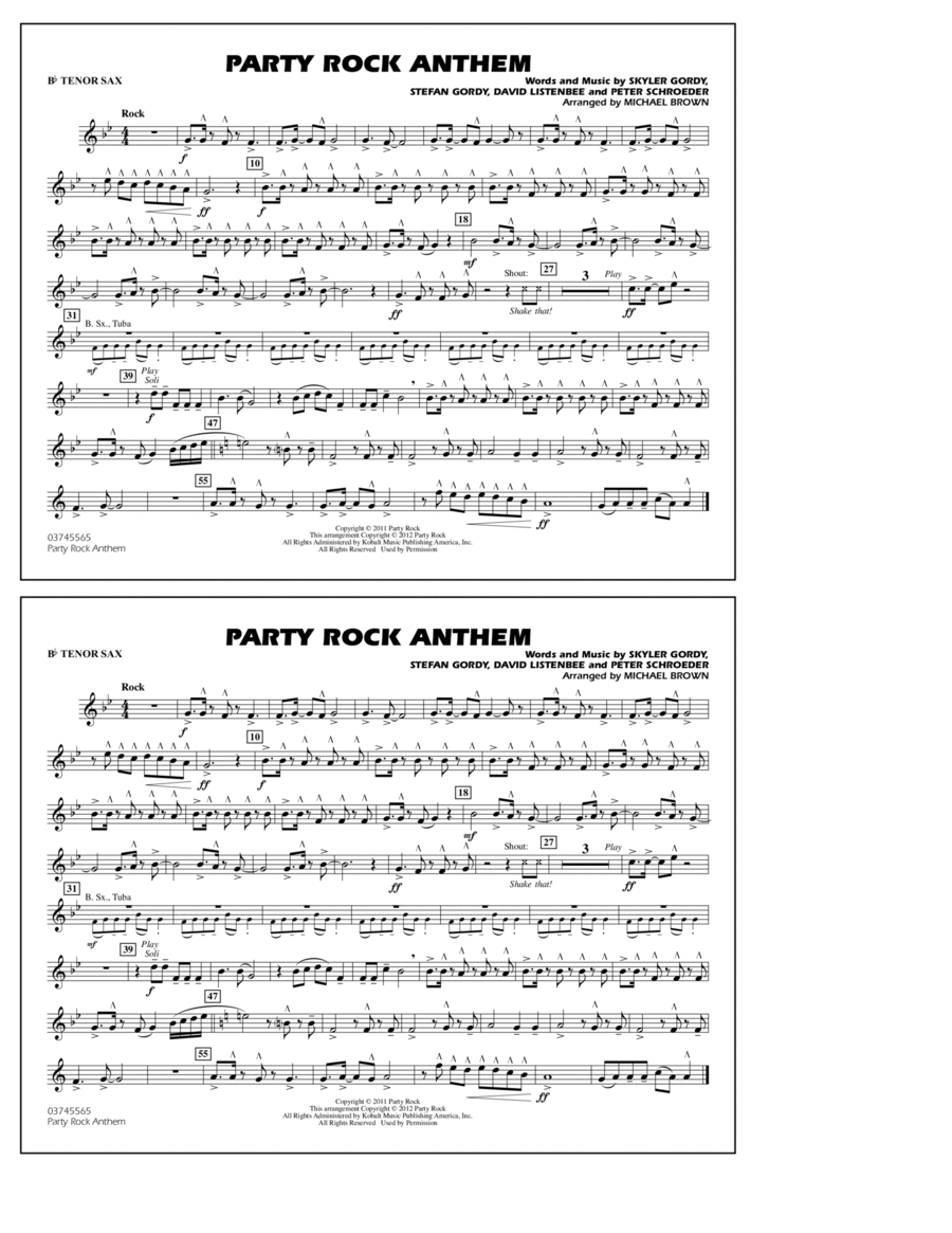Party Rock Anthem - Bb Tenor Sax