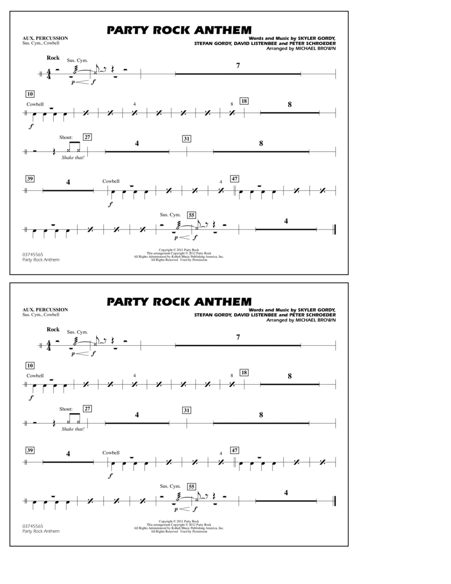 Party Rock Anthem - Aux Percussion
