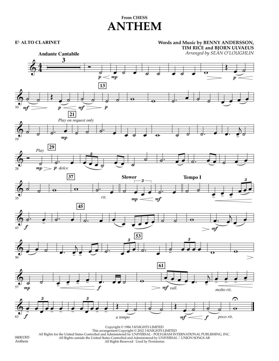 Anthem (from Chess) - Eb Alto Clarinet