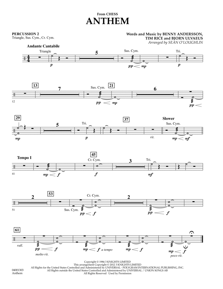 Anthem (from Chess) - Percussion 2