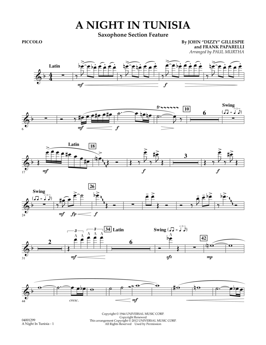 A Night In Tunisia (Saxophone Section Feature) - Piccolo