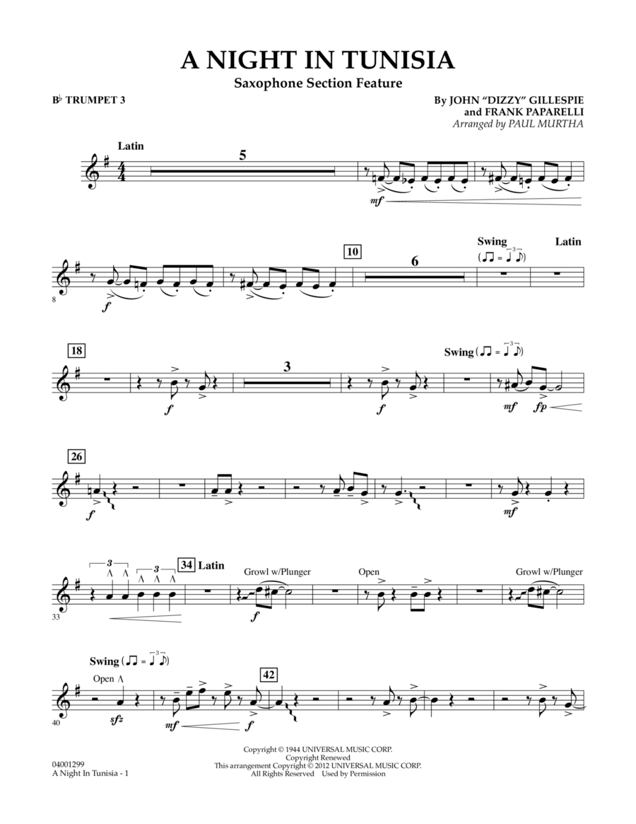 A Night In Tunisia (Saxophone Section Feature) - Bb Trumpet 3