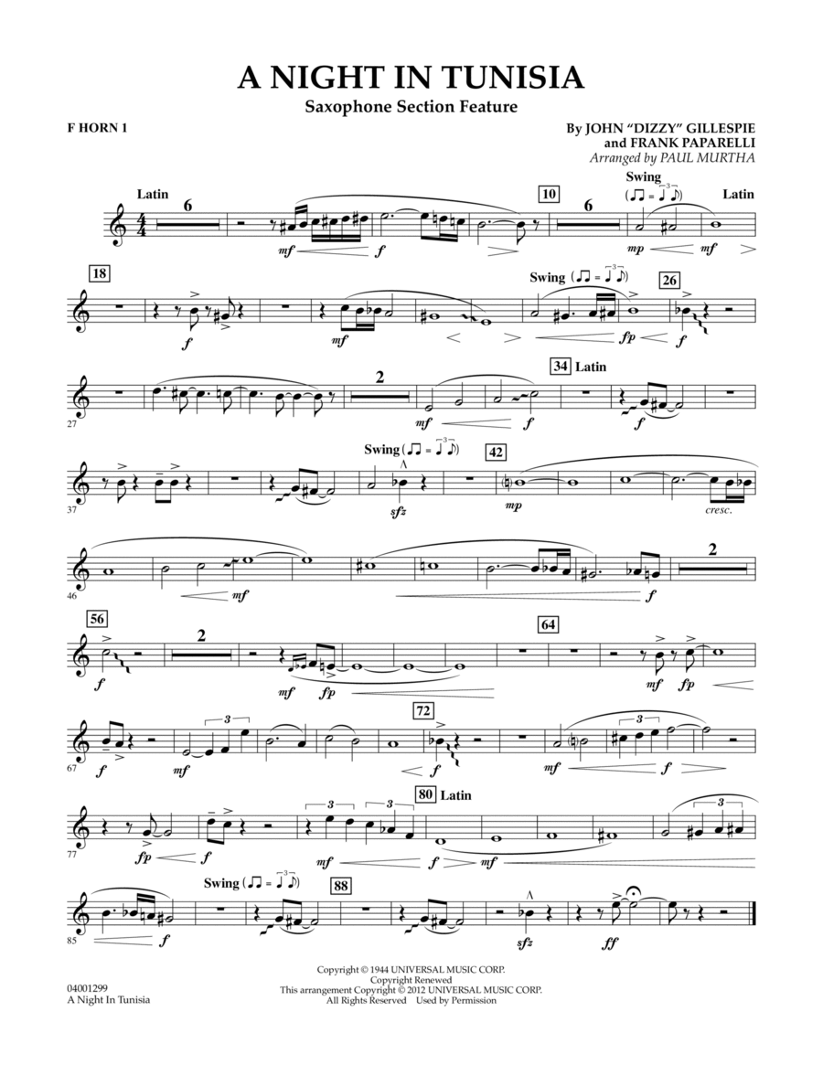 A Night In Tunisia (Saxophone Section Feature) - F Horn 1