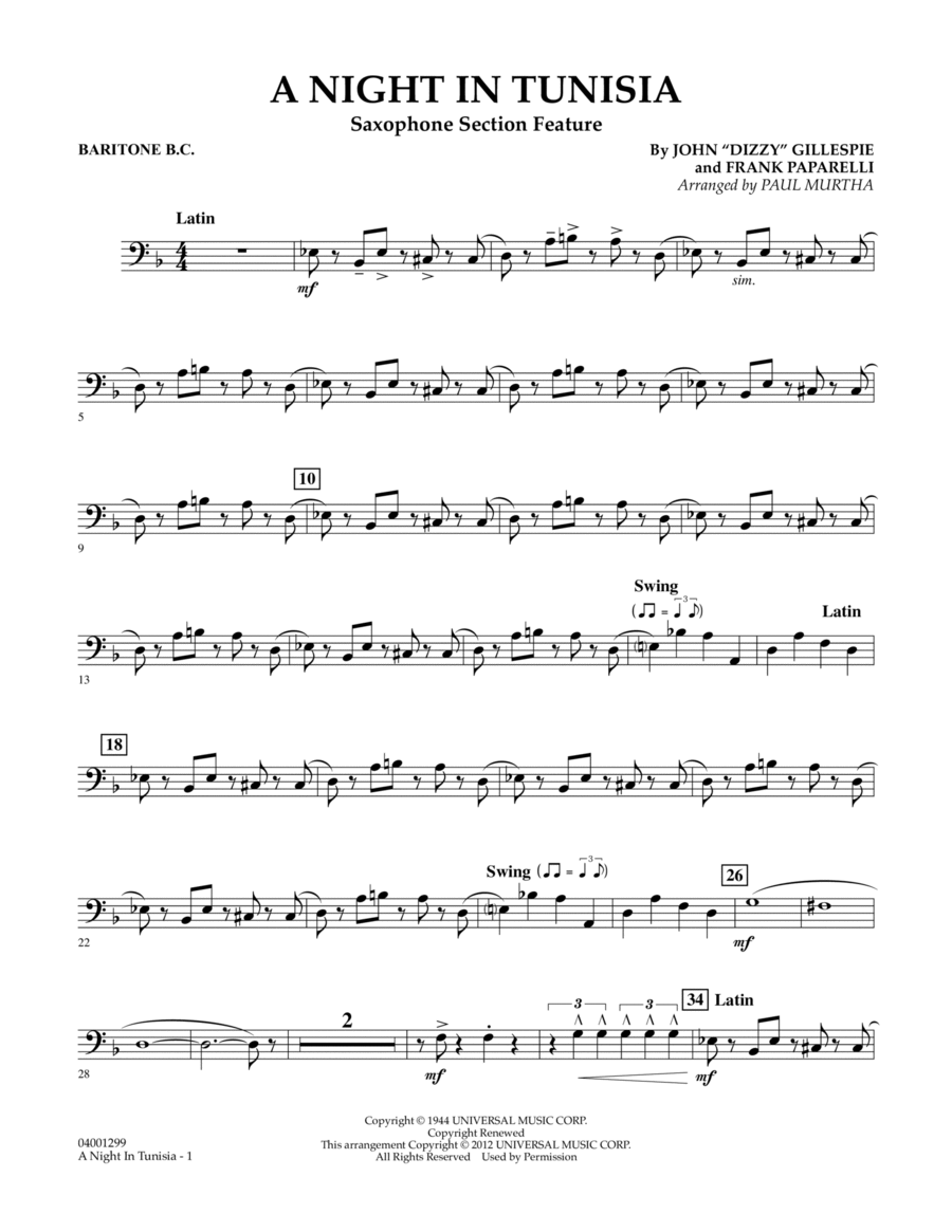 A Night In Tunisia (Saxophone Section Feature) - Baritone B.C.